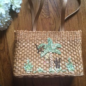 St. John's Bay Wicker Straw Woven Monkey Purse